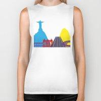 rio de janeiro Biker Tanks featuring Rio de Janeiro skyline pop by Paulrommer
