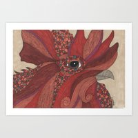 Grandpa's Rooster Art Print