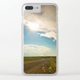 Sunflower Dirt Road Landscape Clear iPhone Case