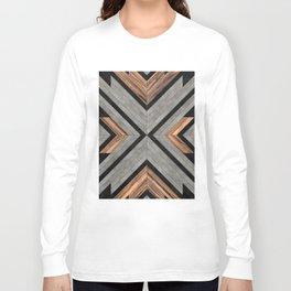 Urban Tribal Pattern No.2 - Concrete and Wood Langarmshirt