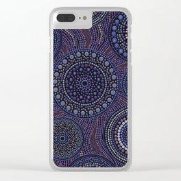 Dot Art Circles Purples Clear iPhone Case