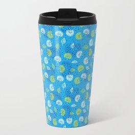 Blue Flowers Pattern Travel Mug