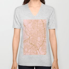 Pink and gold Madrid map, Spain Unisex V-Neck