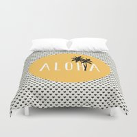 typewriter Duvet Covers featuring ALOHA typewriter by uzualsunday