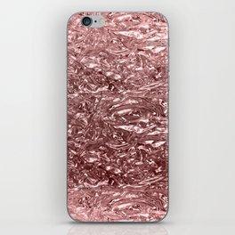 Rose Gold Pink Liquid Metallic Chrome Metal iPhone Skin
