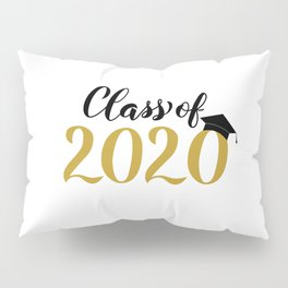 Class of 2020 lettering with graduation hat. Congratulations to graduates.  Pillow Sham