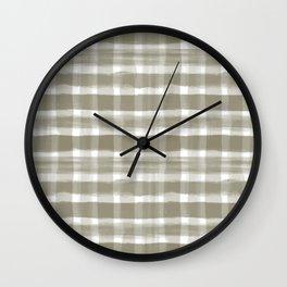 Watercolor Brushstroke Plaid Pattern Pantone Martini Olive Green 18-0625 Wall Clock