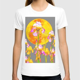 IRIS GARDEN & RISING GOLD MOON  IN GREY SKY T-shirt