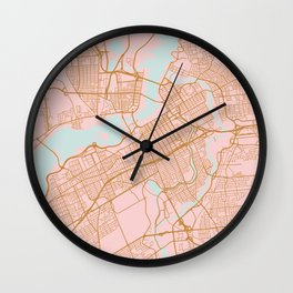 Pink and gold Ottawa map Wall Clock