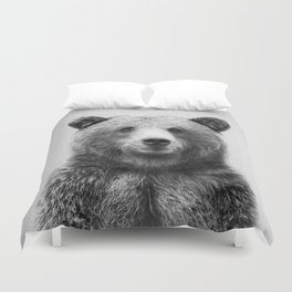 Grizzly Bear - Black & White Duvet Cover