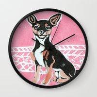 chihuahua Wall Clocks featuring Chihuahua by Mandarin Duck Craft