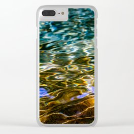 Prismatic Waves in Blue Green Copper and Gold Clear iPhone Case