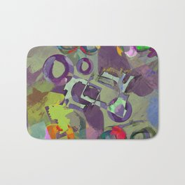 Living In A Purple Dream - Abstract, eclectic, random, purple. lilac, pastel artwork Bath Mat