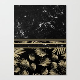Black Marble Meets Tropical Palms #1 #decor #art #society6 Canvas Print