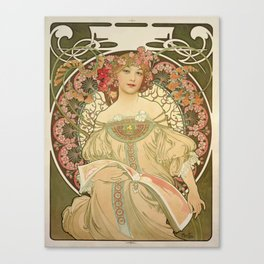 Vintage poster - Woman with flowers Canvas Print