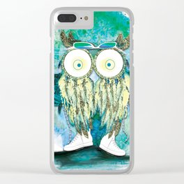 Watercolor Dreamcatcher Owl Clear iPhone Case