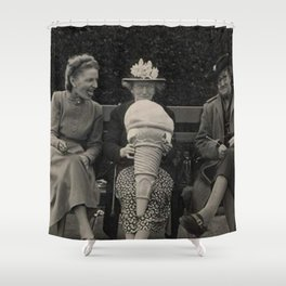 Old Woman Who Won't Share Giant Ice Cream Cone - Yum! - humorous black and white photograph Shower Curtain