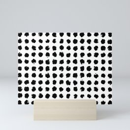 Black and White Minimal Minimalistic Polka Dots Brush Strokes Painting Mini Art Print