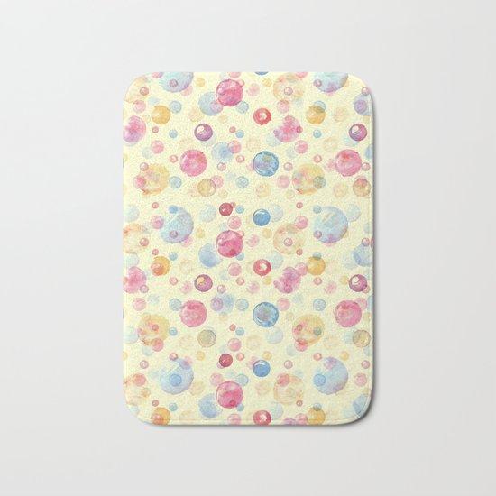 Colorful Watercolors Polka Dots Bath Mat
