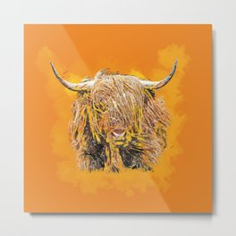 Colorful Highland Cow Metal Print