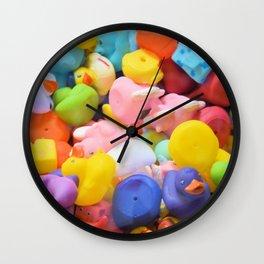 Rainbow Rubber Ducks Wall Clock