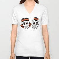 rockabilly V-neck T-shirts featuring Spooky Rockabilly Skulls. by Sparganum