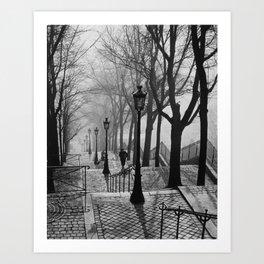 Sacre Coeur, Montmartre, Paris, France Stairs black and white photograph / black and white photography Art Print