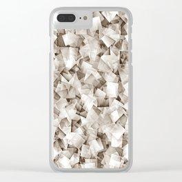 Geometric Stacks Mini Sepia Neutral Clear iPhone Case