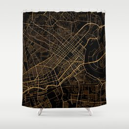 Black and gold Ho Chi Minh map, Vietnam Shower Curtain