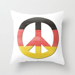 Water Color German Flag CND Peace Symbol Throw Pillow