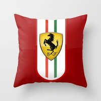 ferrari Throw Pillows featuring FERRARI by Smart Friend