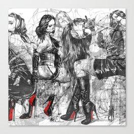 SOLVE et COAGULA. Red Soles. Triptych. INK ART. Yury Fadeev Canvas Print