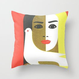 Vintage Russian Poster, USSR Soviet Union International Women's Day by Juozas Galkus 1968 Throw Pillow