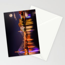 Moon light over Zakim bridge Stationery Cards