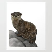 otter Art Prints featuring Otter by ZHField