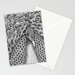 Peacock Black + White Stationery Cards