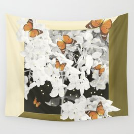 Hydrangea And Butterflies in Frame #decor #society6 Wall Tapestry