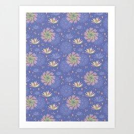 Blue Pink Seamless Flower Background Art Print