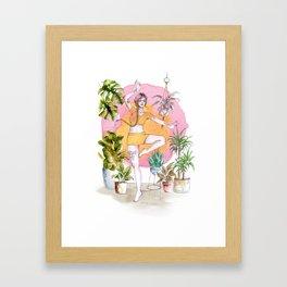 Yoga and Plants Framed Art Print