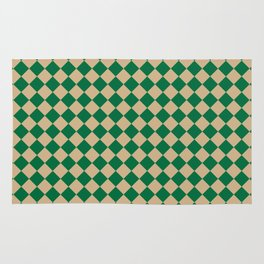 Tan Brown and Cadmium Green Diamonds Rug