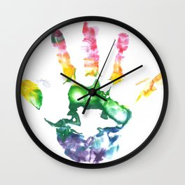 Rainbow Handprint Wall Clock