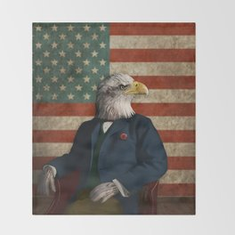 Official Portrait of Senator Silas Eagle Throw Blanket