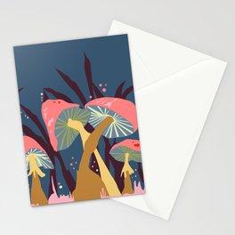 Mushroom Mania Nature Landscape Blue & Coral Stationery Cards