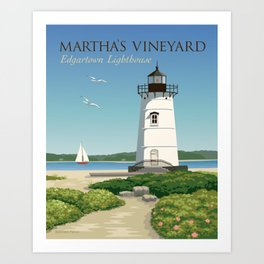 Martha's Vineyard Edgartown Lighthouse Art Print