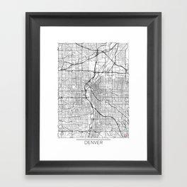 Denver Map White Framed Art Print
