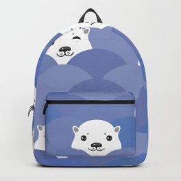 Kawaii Funny white Polar Bear in blue water, sea waves Backpack