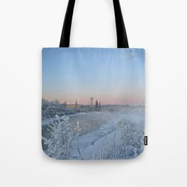 Winter afternoon on the Chena River Tote Bag