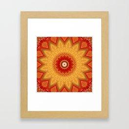 Bright Gold Orange Mandala Framed Art Print