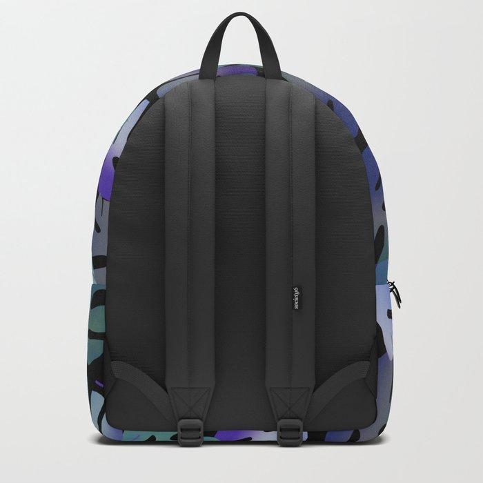Monstera Leaf purple green pattern black Backpack