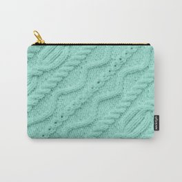 Seafoam Mint Cableknit Carry-All Pouch
